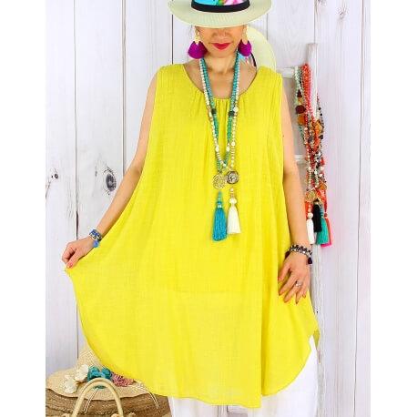 Tunique longue femme grande taille coton MIKADO Jaune Tunique femme grande taille