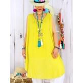 Tunique longue grande taille été coton MIKADO jaune