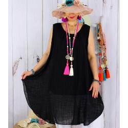 Tunique longue grande taille été coton MIKADO noir-Tunique femme grande taille-CHARLESELIE94