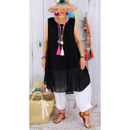 Tunique longue grande taille été coton MIKADO noir Tunique femme grande taille