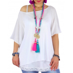 Pull tunique grande taille coton blanc MIROR