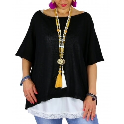 Pull tunique grande taille coton MIROR noir