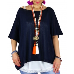 Pull tunique grande taille coton MIROR bleu marine