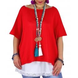 Pull tunique grande taille coton MIROR rouge