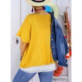 Pull tunique grande taille coton MIROR jaune