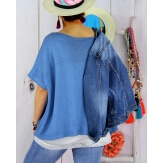 Pull tunique grande taille coton MIROR bleu jean