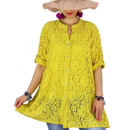 Chemise femme grande taille dentelle été PORTOFINO jaune