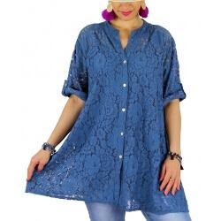 Chemise femme grande taille dentelle été PORTOFINO bleu jean