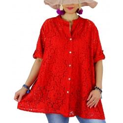 Chemise femme grande taille dentelle été PORTOFINO rouge