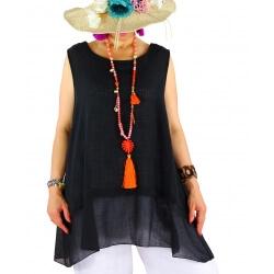 Top tunique grande taille coton lin été noir BASILIC
