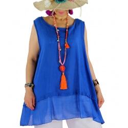 Top tunique grande taille coton lin été bleu royal BASILIC