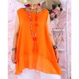 Top tunique grande taille coton lin été orange BASILIC