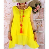 Top tunique grande taille coton lin été jaune BASILIC