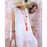 Top tunique grande taille coton lin été blanc BASILIC