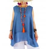Top tunique grande taille coton lin été bleu jean BASILIC