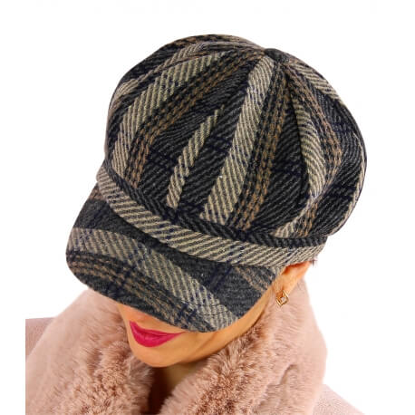 Casquette femme Gavroche laine gris 6114