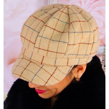 Casquette femme Gavroche laine 6115 Beige Casquette femme