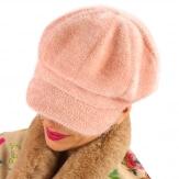Casquette femme Gavroche laine rose 6110