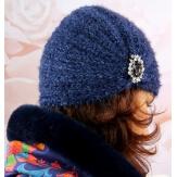 Bonnet turban femme tricot bijoux bleu 304
