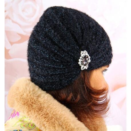 Bonnet turban femme hiver bijoux 304 Noir Bonnet femme