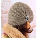 Bonnet turban femme hiver bijoux taupe 304