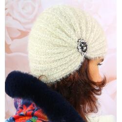 Bonnet turban femme hiver bijoux 304 Beige Bonnet femme