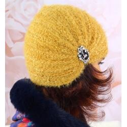 Bonnet turban femme hiver bijoux 304 Moutarde Bonnet femme