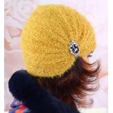 Bonnet turban femme hiver bijoux moutarde 304
