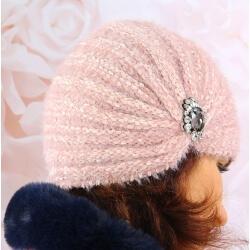 Bonnet turban femme hiver bijoux 304 Rose Bonnet femme