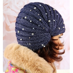Bonnet turban femme hiver bijoux 303 Bleu Bonnet femme
