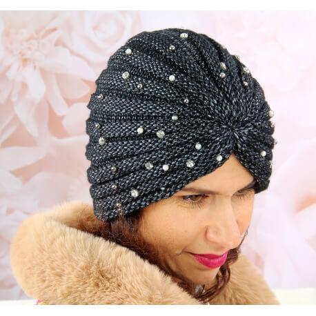 Bonnet turban femme hiver bijoux 303 Noir Bonnet femme