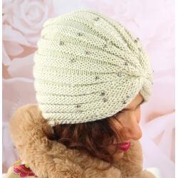 Bonnet turban femme hiver bijoux 303 Beige Bonnet femme