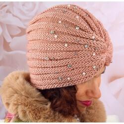 Bonnet turban femme hiver bijoux 303 Rose Bonnet femme