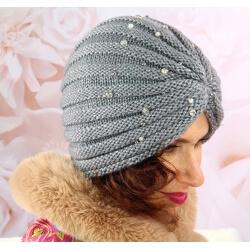 Bonnet turban femme hiver bijoux 303 Gris Bonnet femme