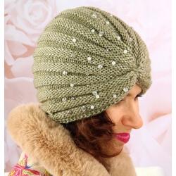 Bonnet turban femme hiver bijoux 303 Kaki Bonnet femme