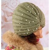 Bonnet turban femme hiver bijoux kaki 303