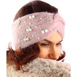 Bandeau turban hiver bijoux rose 306