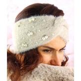 Bandeau turban hiver bijoux beige 306