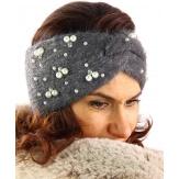Bandeau turban hiver bijoux gris 306