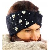 Bandeau turban hiver bijoux noir 306