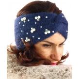 Bandeau turban hiver bijoux bleu marine 306