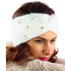 Bandeau turban hiver bijoux blanc 306