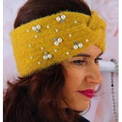 Bandeau turban femme hiver bijoux 306 Moutarde Bonnet femme