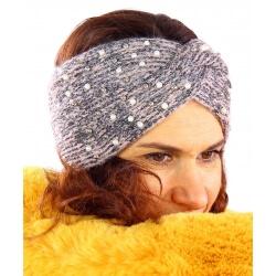 Bandeau turban hiver bijoux rose 301