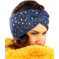 Bandeau turban femme hiver bijoux 301 Bleu-Bonnet femme-CHARLESELIE94