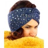 Bandeau turban hiver bijoux bleu 301