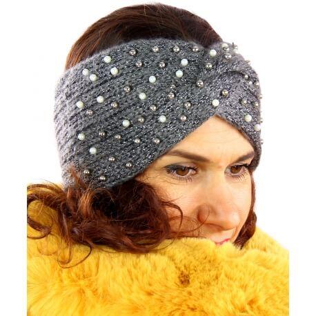Bandeau turban hiver bijoux gris 301