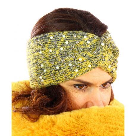 Bandeau turban hiver bijoux jaune 301
