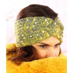 Bandeau turban femme hiver bijoux 301 Jaune Bonnet femme