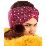 Bandeau turban hiver bijoux rouge 301